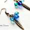 Peacock collection - Czech bead and antique gold feather earrings