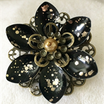Black and Gold Lotus flower brooch.