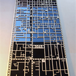 Laser cut, street map of Fitzroy 3065, Victoria in MDF & coloured acrylic.