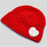 crochet baby beanie | red +  white heart, Valentine's shower gift 0 - 3+ months