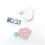 Gemstone Luxe Clip Set - Velvet - Glitter - Leather - Silver - Blush - Mint