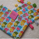 Baby Set - Nappy and Wipe Holder / Mini Taggie - Coloured Elephants - Girl