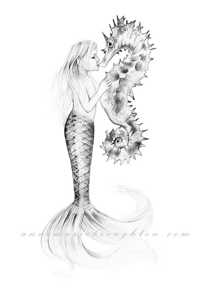 8x10 Little Girl Mermaid Amp Seahorse Pencil Drawing Art
