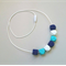 Silicone Teething Necklace - GEO in Navy, Turquoise and White
