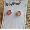 Sterling silver resin stud earrings red fleck fabric design