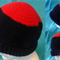 Crocheted Navy Blue and Red Beanie