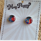Sterling silver resin stud earrings orange and blue fabric design
