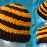Crocheted Brown and Gold Beanie