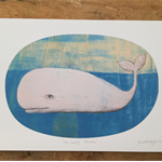 Whale Illustration Art Print - A4 Wall Art, Room Decor