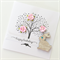 Hand stamped tree with pink mulberry flowers & bunny rabbit happy birthday card
