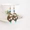 Bird Chandelier Earrings, bird in a nest, dark teal