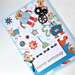 Birthday Card, Kids - Boyish  Retro Robots