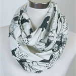 Birds Infinity Scarf White. (Snood) Maternity. Breast Feeding /Nursing Cover.