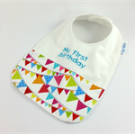 Bib - My First Birthday Cotton Flag Fabric, Snap Fastened, Pink or Blue Words.