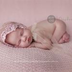Newborn Lace Bonnet / Newborn Photography Prop / Cream Lace Tulle Bonnet