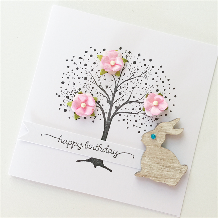 Hand Stamped Tree With Pink Mulberry Flowers Bunny Rabbit Happy