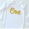 Gold Glitter One Bodysuit Onesie with pink bow - 1st Birthday - Long Sleeve