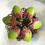 Lime green and pink Lotus flower brooch.
