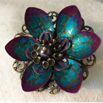 Blue and pink Lotus flower brooch.