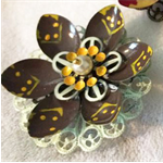 Brown cream and yellow Lotus flower brooch.