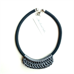 Charcoal Rope & Satin Crochet Necklace