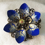 Blue and Gold Lotus flower brooch.