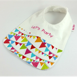 Bib, Bibs for Baby Let's Party, Cute Cotton Flag Fabric, Snap Fastened.