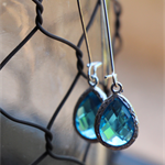 Turquoise Blue Teardrop Glass ~Long Drop Earrings