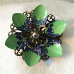Green and pink Lotus flower brooch.