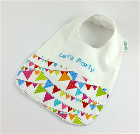 Baby/Infant Bib - Let's Party, Cute Cotton Flag Fabric, Snap Fastened.