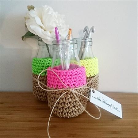 Neon Crochet Pen Holder/Vase Set of 3