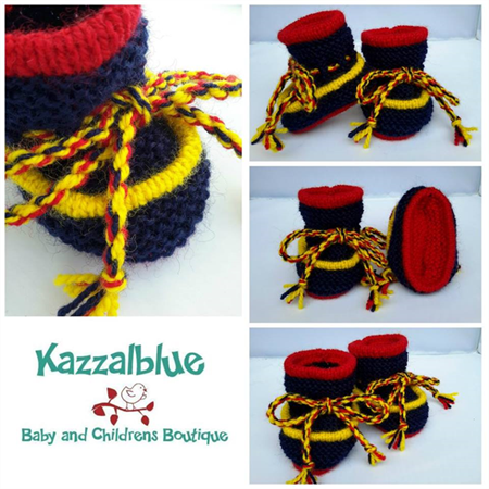 Knit Baby Booties, Baby Shoes, Handknitted Baby Boots, AFL Football Boots K...