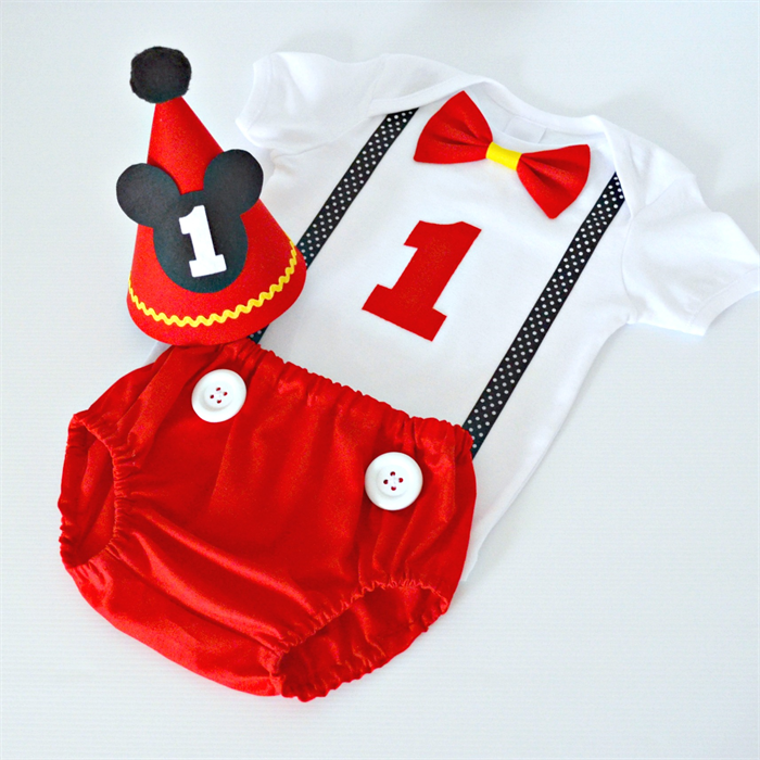 Mickey Mouse 1st Birthday Outfit Cake Smash Set Hat Nappy Cover