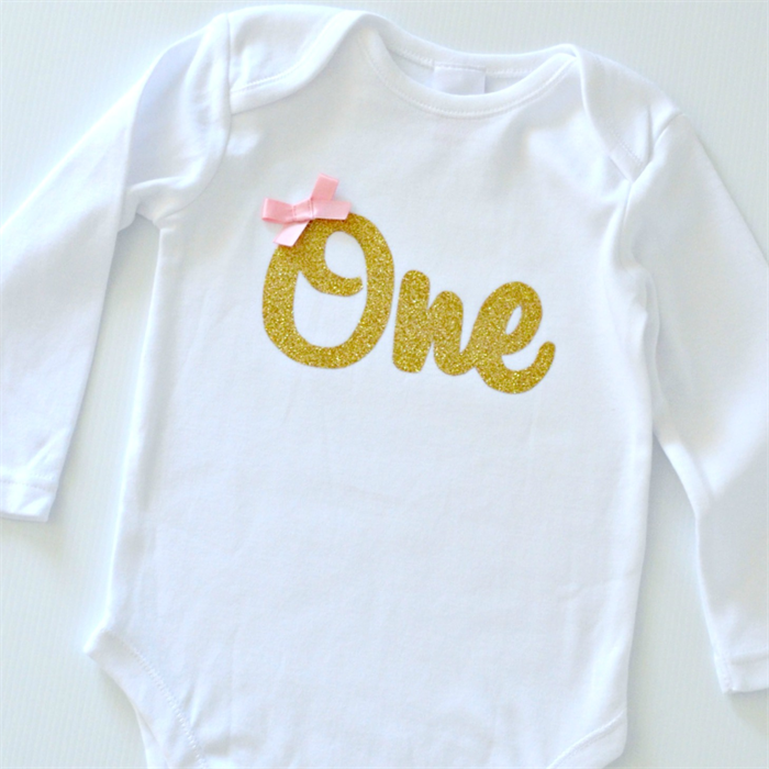 9c180caa1 Gold Glitter One Bodysuit Onesie with pink bow - 1st Birthday - Long Sleeve  | Little Miss Charlie's Treasures | madeit.com.au