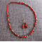 Red Glass Beaded Necklace with Matching Drop Earrings