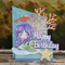 Mermaid Happy Birthday Trifold Card Chevron Stars Crab Seaweed Sparkle