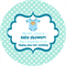Personalised baby shower little blue romper suit favours label labels