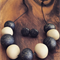 Black and grey glitter polymer clay necklace and earring set.