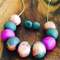 Green, copper and lilac polymer clay necklace and earring set.