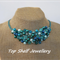 Aqua Blue Green Crochet Wire Bib Choker Handmade OOAK Necklace by Top Shelf