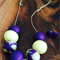 Purple and yellow polymer clay necklace and earring set.