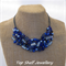 Blue Glass Crochet Wire Beaded Bib Choker Handmade OOAK Necklace by Top Shelf