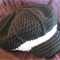 Crocheted slouch style cap with brim wool and cotton 52 to 55cm head