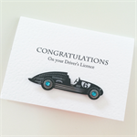 Congratulations Driver's Licence black sports vintage car male female 18 card