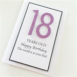 Happy Birthday 18th pink  glitter numbers any age girl female friend card