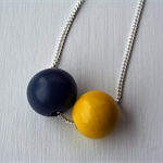 Minimalist yellow and French blue wooden bead necklace
