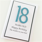 Happy Birthday 18 blue glitter numbers any age boy girl male female friend card