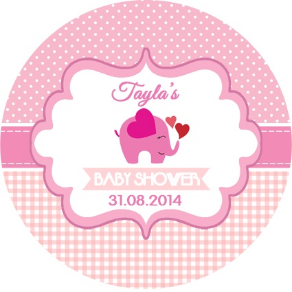 Personalised Girl Girls Baby Shower Pink Elephant Elephants Stickers Favours
