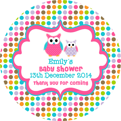 Personalised owl owls baby shower favours stickers favour gifts gift bombonieres