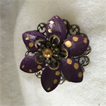 Purple and Gold Lotus flower brooch.